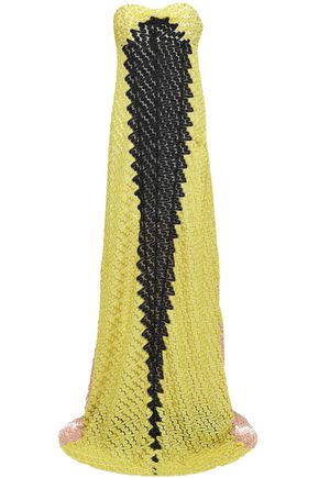 MISSONI Strapless color-block crochet-knit maxi dress