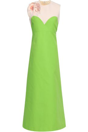 DELPOZO Embellished two-tone canvas gown