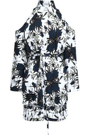 NINA RICCI Cold-shoulder floral-print cotton-poplin mini dress
