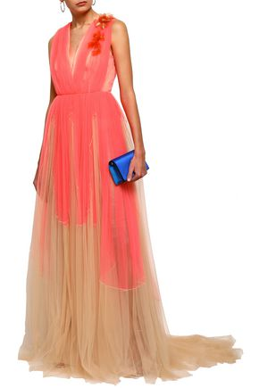 DELPOZO Embellished two-tone tulle gown