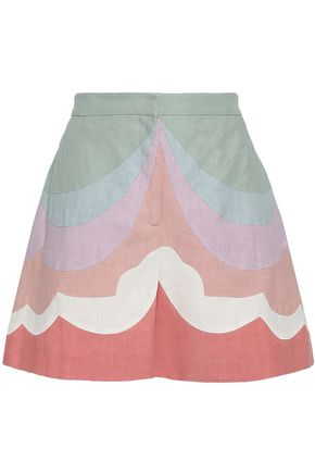 VALENTINO Color-block linen shorts