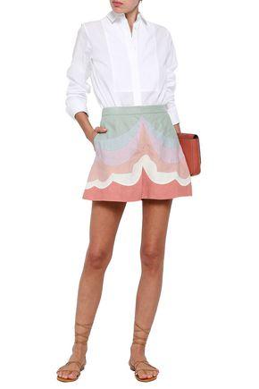 VALENTINO Color-block linen shorts