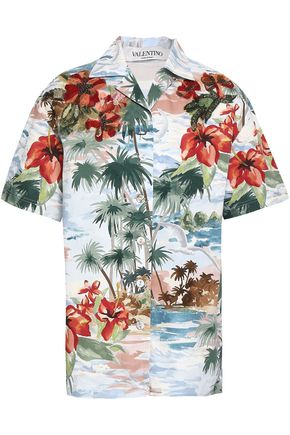 VALENTINO Floral-appliquéd printed cotton-poplin shirt