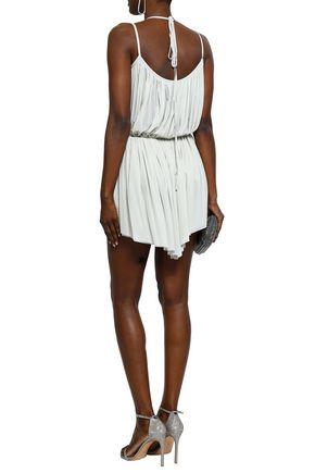 NINA RICCI Asymmetric gathered stretch-jersey mini dress