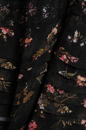 ZIMMERMANN Lace-paneled floral-print georgette blouse