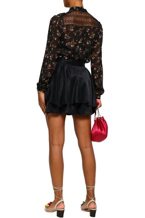 ZIMMERMANN Lace-paneled floral-print georgette blouse