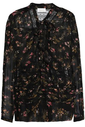 Lace Paneled Floral Print Georgette Blouse by Zimmermann