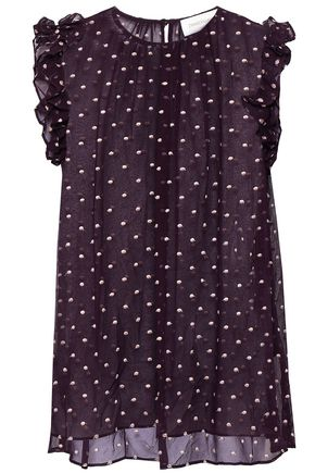 ZIMMERMANN Ruffle-trimmed Swiss-dot silk-georgette blouse