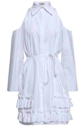 NINA RICCI Cold-shoulder ruffled cotton-poplin dress