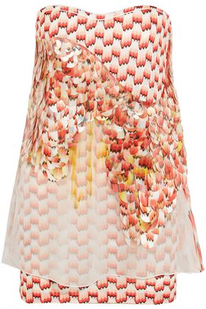 MISSONI Sequin-embellished silk-blend organza and crochet-knit top