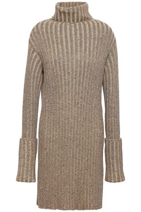 VALENTINO Ribbed-knit turtleneck mini dress