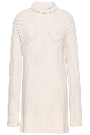 VALENTINO Ribbed wool and cashmere-blend turtleneck mini dress