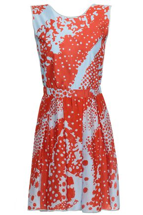 MISSONI Flared printed silk-blend mini dress