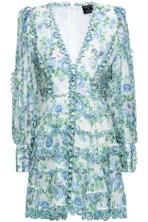 ZIMMERMANN Printed line and silk-blend gauze mini dress
