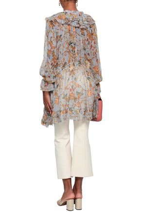 ZIMMERMANN Painted Heart asymmetric ruffled floral-print silk-georgette blouse