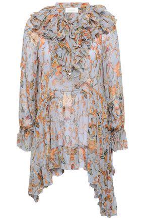 ZIMMERMANN Painted Heart asymmetric ruffled floral-print silk-georgette blouse