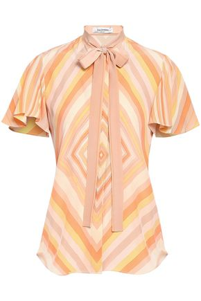 VALENTINO Pussy-bow printed silk crepe de chine blouse