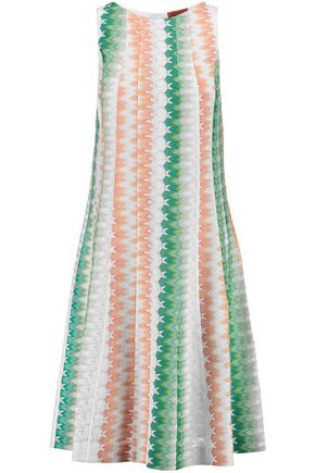 MISSONI Pleated crochet-knit dress