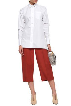 VALENTINO Cape-effect cutout cotton-poplin shirt