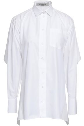 VALENTINO Cape-effect cutout cotton-poplin shirt