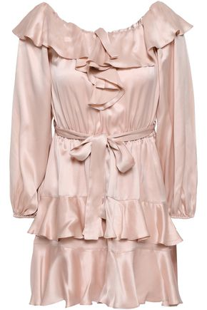 ZIMMERMANN Tiered ruffled silk-satin mini dress