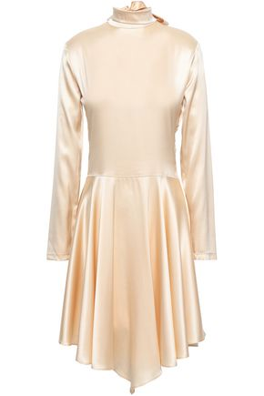 Lace Paneled Stretch Silk Satin Dress by Nina Ricci
