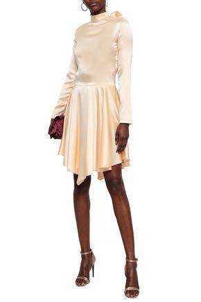 NINA RICCI Lace-paneled stretch-silk satin dress
