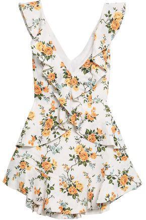 ZIMMERMANN Ruffled floral-print linen mini dress