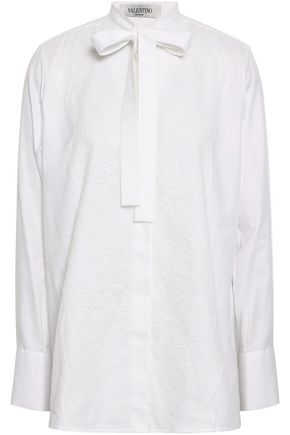 VALENTINO Pussy-bow lace-appliquéd cotton Oxford blouse