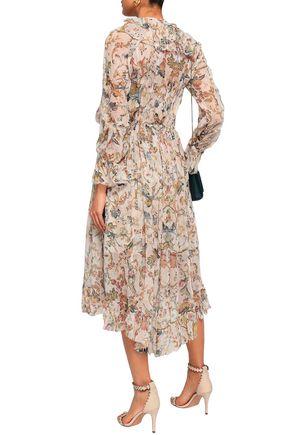 ZIMMERMANN Printed silk-georgette midi dress