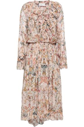 ZIMMERMANN Printed silk-georgette midi dress