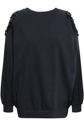 NINA RICCI Cold-shoulder embellished French cotton-terry sweatshirt