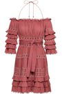 ZIMMERMANN Off-the-shoulder tiered cotton mini dress