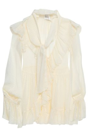 ZIMMERMANN Ruffled fil coupé silk-blend blouse