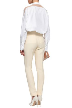VALENTINO Pussy-bow organza-paneled cotton-poplin shirt