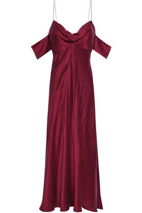 ZIMMERMANN Cold-shoulder washed-silk midi dress