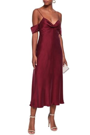 ZIMMERMANN Cold-shoulder washed-silk midi dress