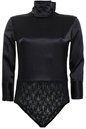 NINA RICCI Paneled lace and silk-blend turtleneck bodysuit