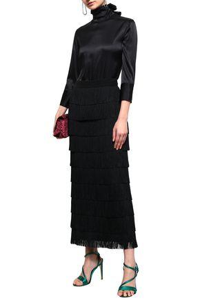 NINA RICCI Paneled lace and silk-blend turtleneck bodysuit