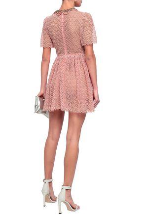VALENTINO Pleated metallic cotton-blend guipure lace mini dress