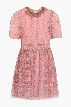 VALENTINO Pleated metallic cotton-blend guipure lace mini dress
