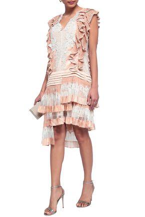 ZIMMERMANN Ruffled lace-paneled polka-dot crepe de chine dress