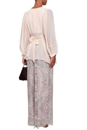 ZIMMERMANN Gathered crepe and georgette blouse