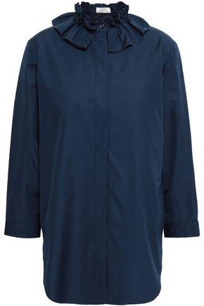 NINA RICCI Ruffle-trimmed cotton-poplin shirt
