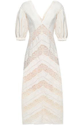 ZIMMERMANN Macramé-paneled linen midi dress
