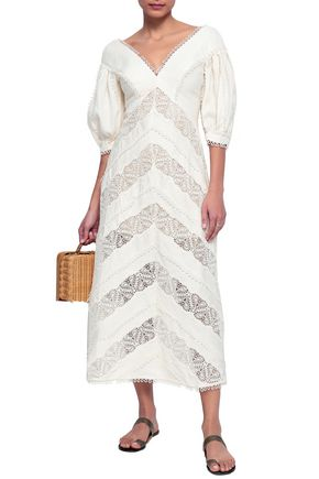 ZIMMERMANN Crochet-paneled linen midi dress