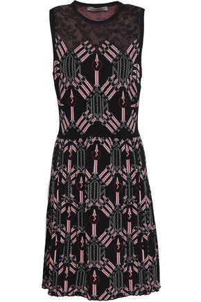VALENTINO Lace-paneled jacquard-knit mini dress