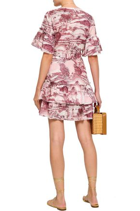 ZIMMERMANN Ruffled printed linen mini wrap dress