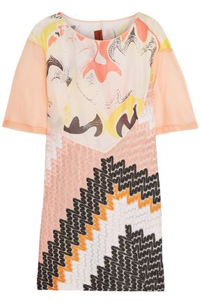 MISSONI Paneled organza, printed gauze and crochet-knit mini dress