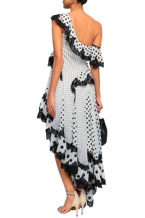 ZIMMERMANN Asymmetric ruffled lace-trimmed flocked crepe de chine dress